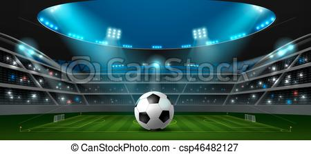 450x224 Soccer Football Stadium Spotlight And Ball Background