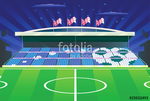500x337 Soccer Stadium And Detailed Tribune With Drawing. Vector. Stock