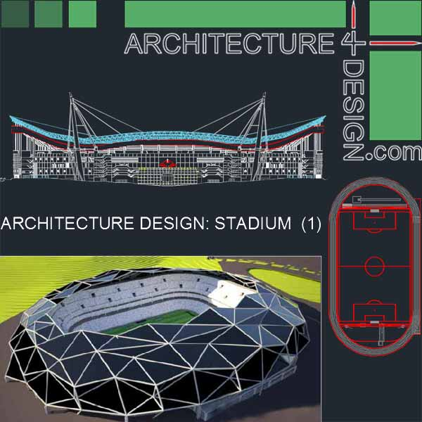 600x600 Sport Complex Stadium Architecture Design (Autocad Drawings