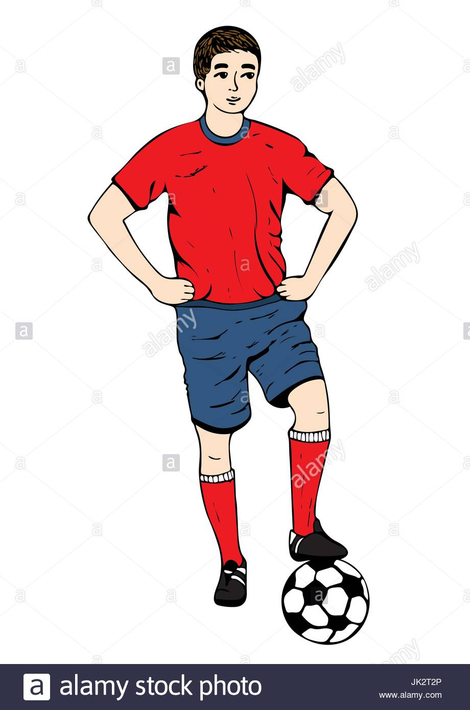 920x1390 Footballer, Vector Hand Drawing. Football Player In A Red Blue