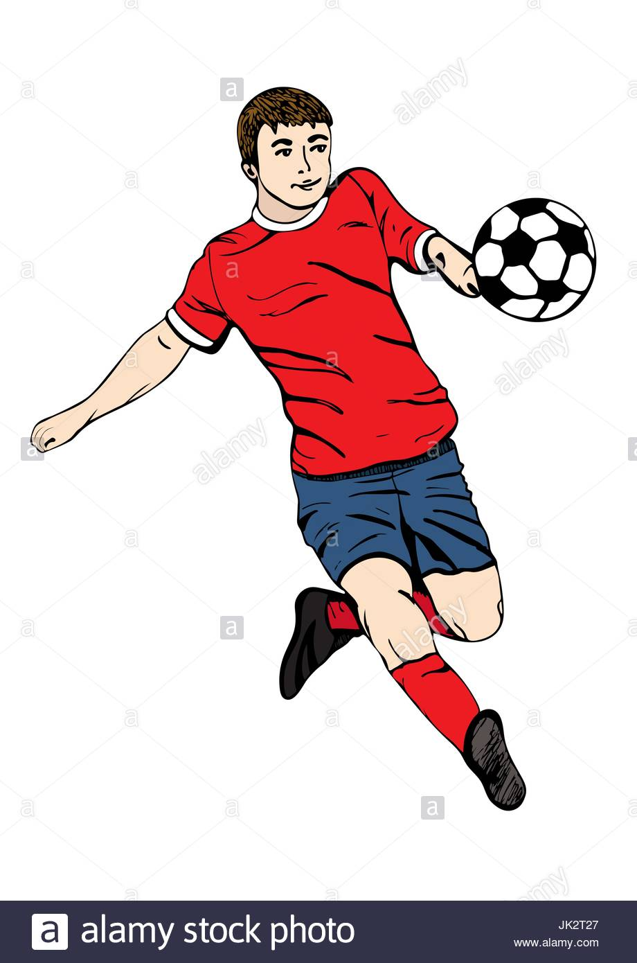 920x1390 Footballer With Ball, Vector Hand Drawing. Football Player In