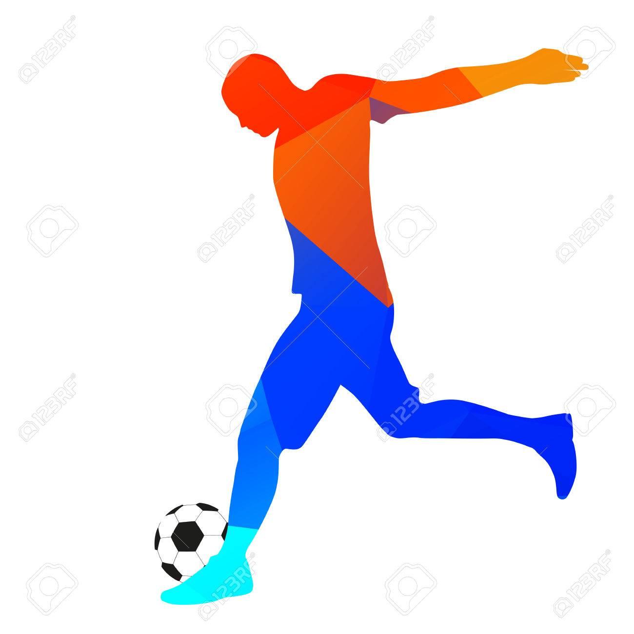 1300x1300 Geometric Drawing Footballer Kicking A Ball Royalty Free Cliparts