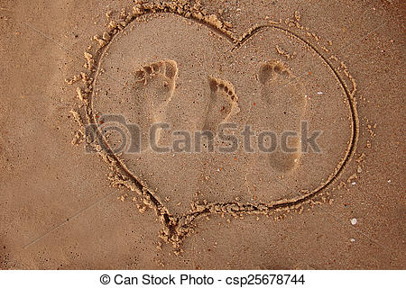 450x320 A Family Footprints In The Sand On The Beach Drawing