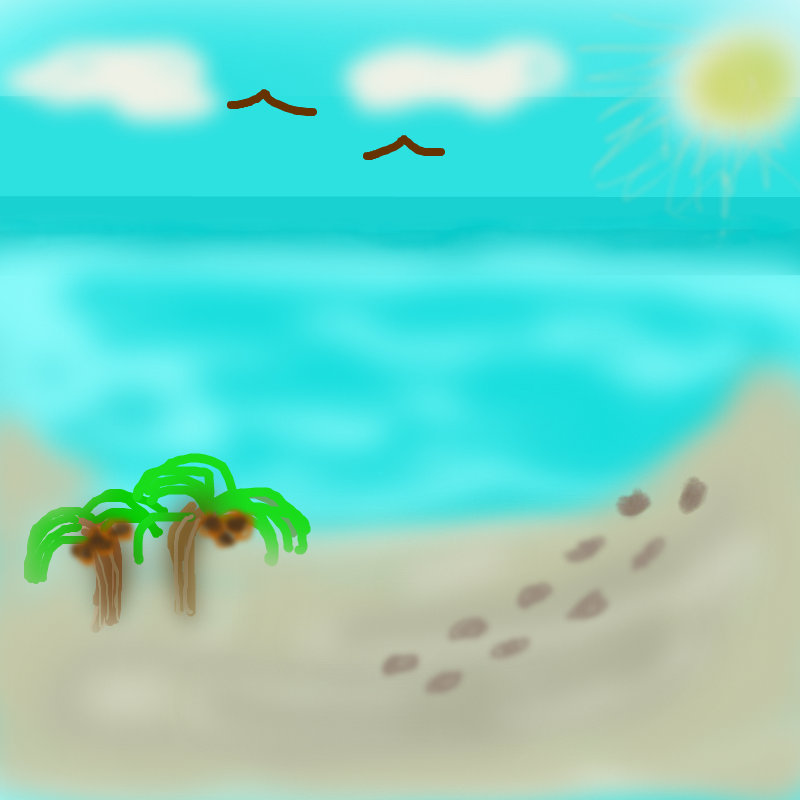 800x800 Footprints In The Sand A Landscape Speedpaint Drawing By Vicky