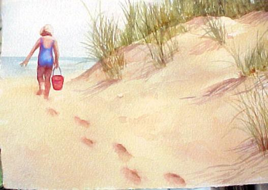 527x374 How To Paint Footprints In The Sand In Watercolor