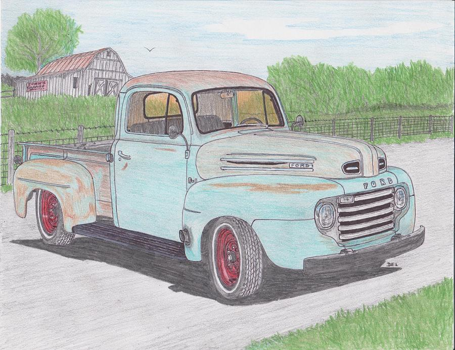 900x692 Ford F 1 Truck Drawing By Darrell Leonard