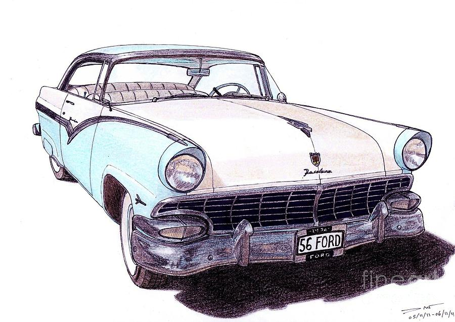 900x637 Ford Fairlane Victoria Drawing By Dan Poll