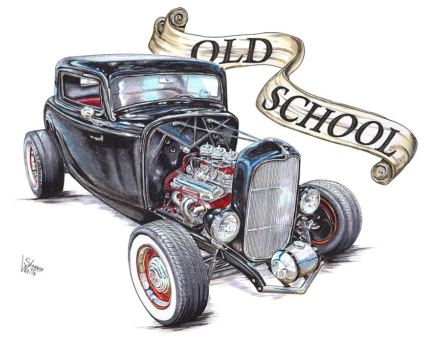 900x704 Old School 32 Ford Drawing By Shannon Watts
