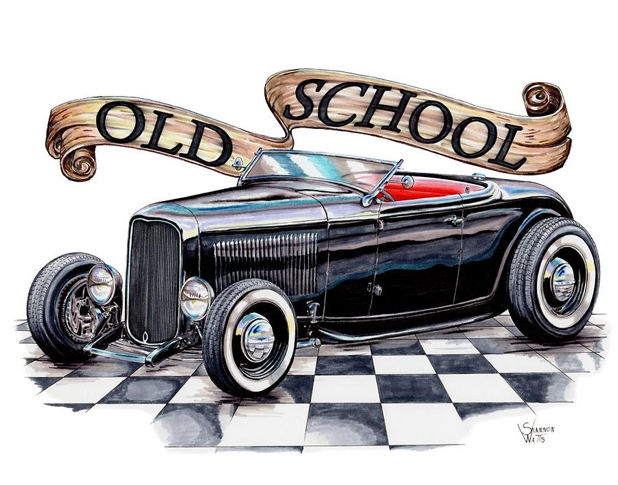 900x707 Old School 32 Ford Roadster Drawing By Shannon Watts