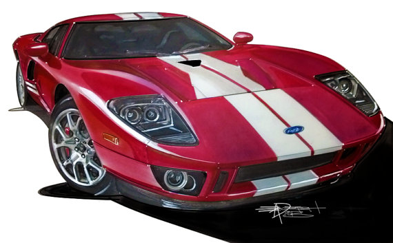 570x353 Ford Gt Drawing Hand Drawn Fully Detailed Full Color By Juxtarosed