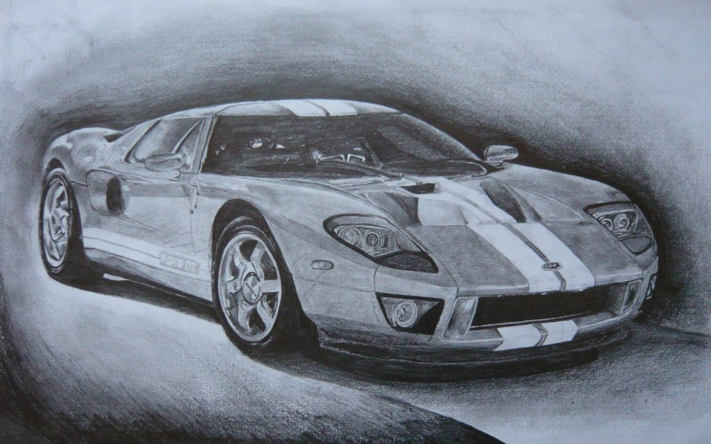 1024x640 Ford Gt Tonal Drawing By Joshthetigers