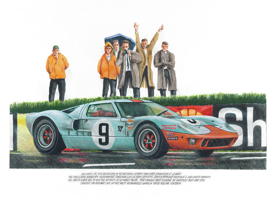 900x660 Ford Gt40 Drawing By Ken Hank
