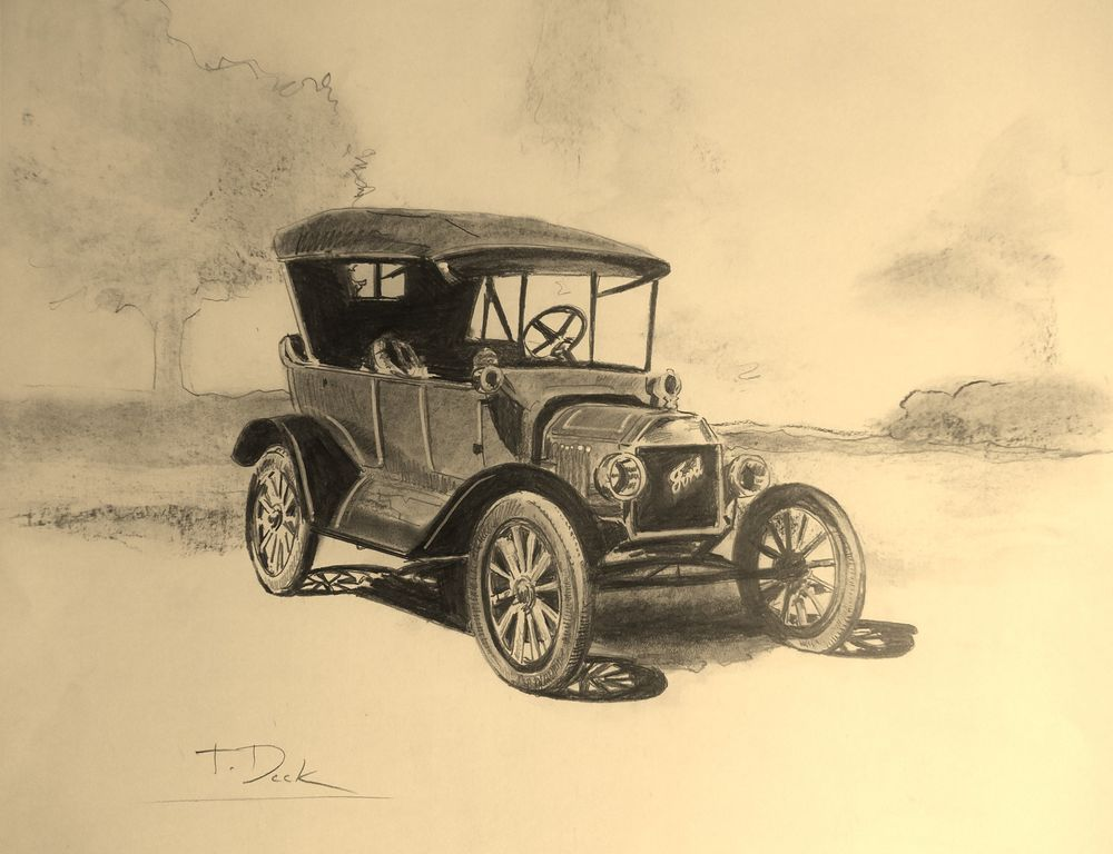 1000x768 Ford Model T. Signed Original Drawing Classic Cars, Corvettes