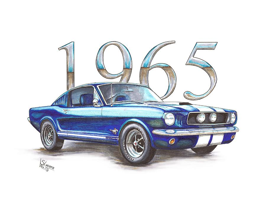 900x710 1965 Ford Mustang Fastback Drawing By Shannon Watts