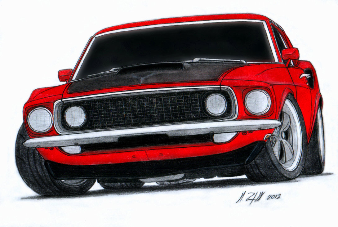 1090x732 1969 Ford Mustang Boss 520 Pro Touring Drawing By Vertualissimo