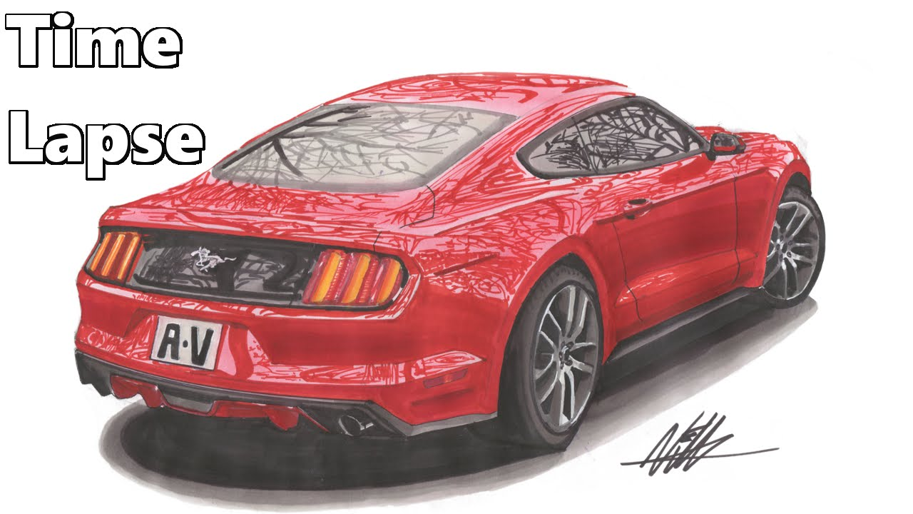 1280x720 2015 Ford Mustang Drawing