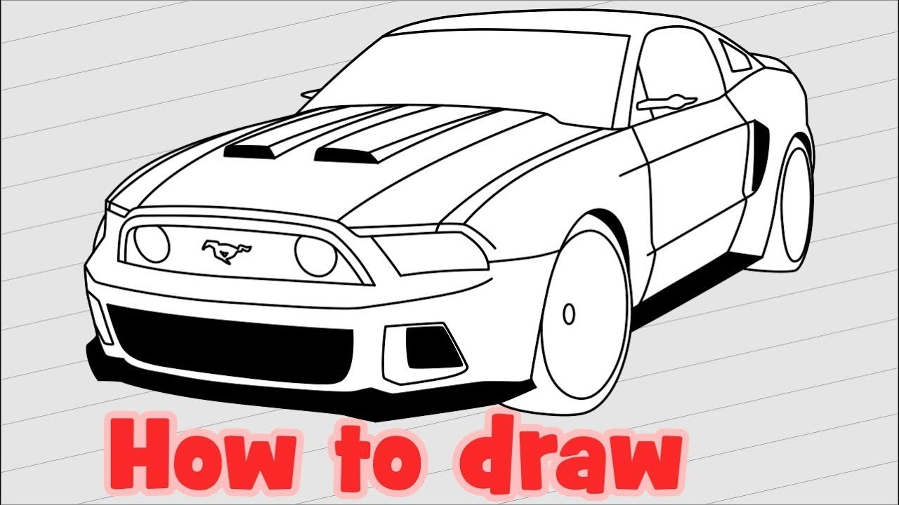 1280x720 How To Draw A Car Ford Mustang Gt 2014 From The Need For Speed