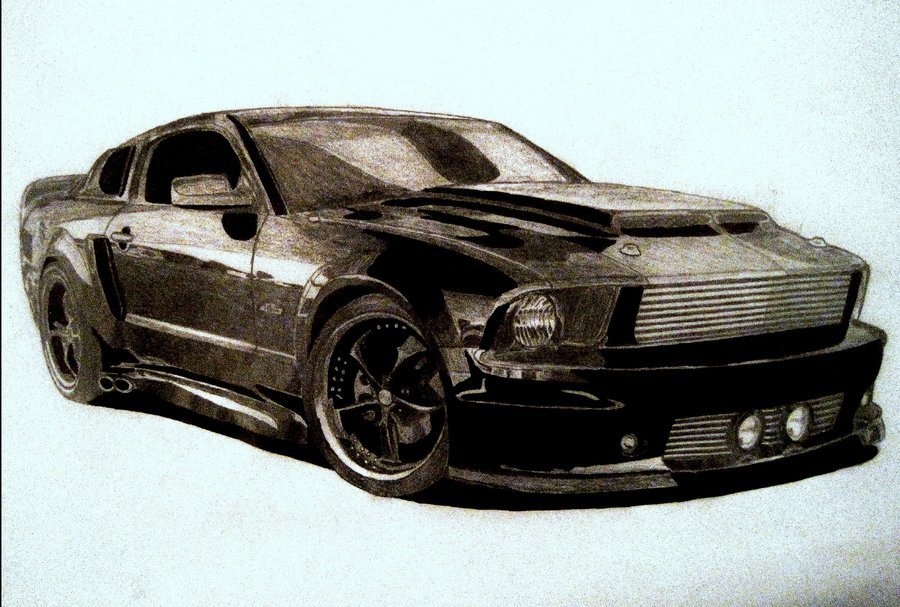 900x607 Mustang Gt Drawing By Zalmyw88