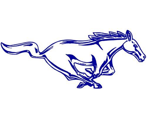 500x406 Mustang 12 Running Pony Decal Rh Blue