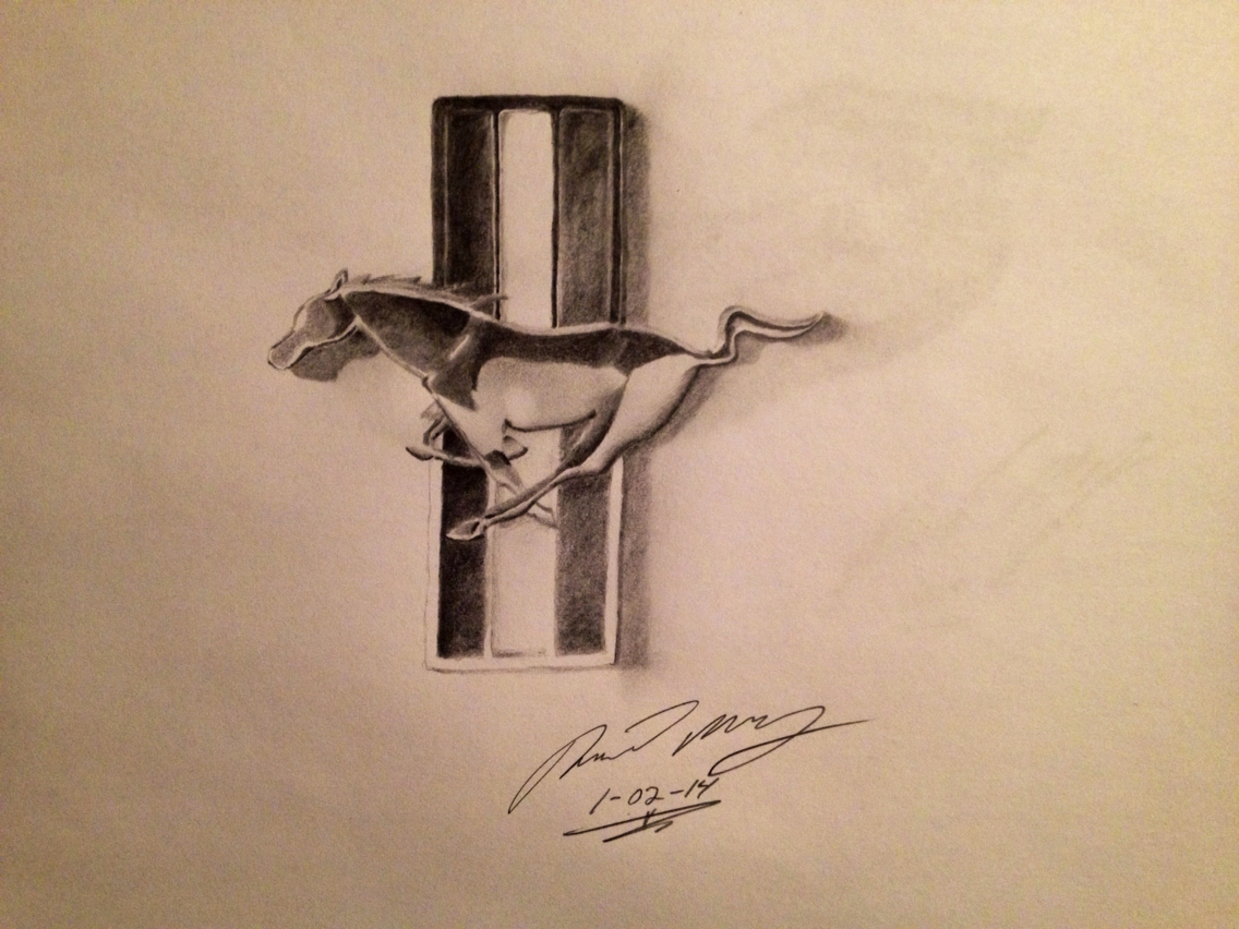 1136x852 Pencil Drawing Of A Ford Mustang Logo. Drawings