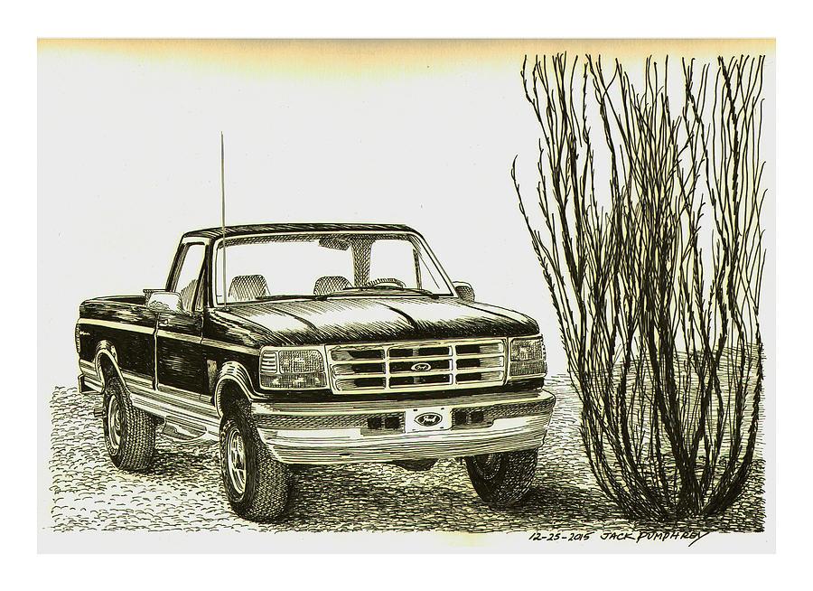 900x654 1996 Ford Pick Up Ocatillo Drawing By Jack Pumphrey