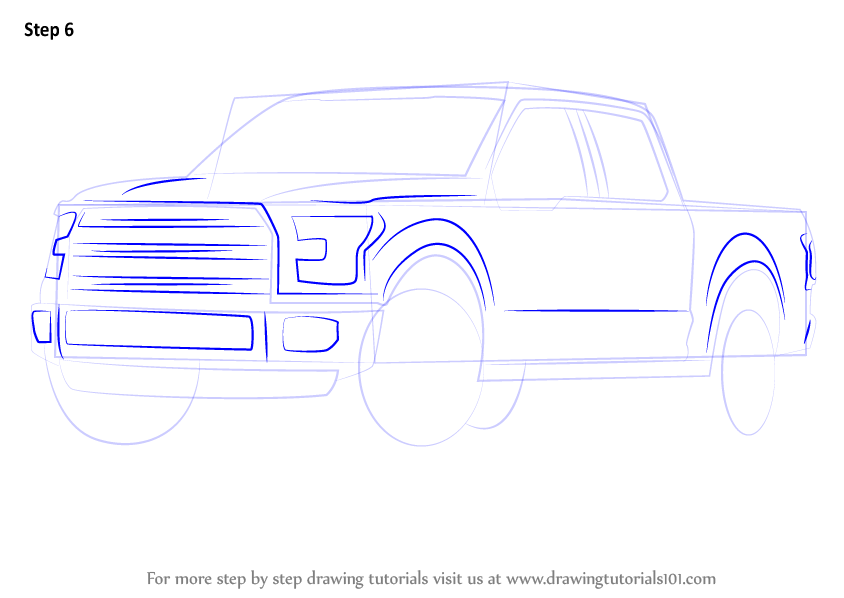 844x598 Learn How To Draw Ford F 150 Truck (Trucks) Step By Step Drawing