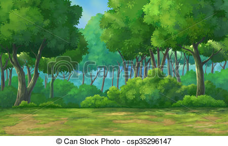 450x290 Background Forest Daytime. Picture Painted In Deep Forest Drawing
