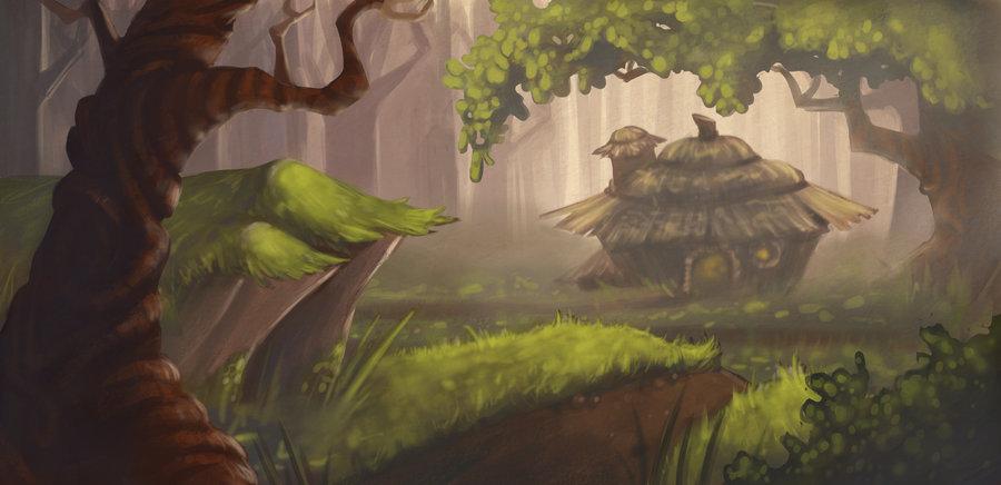 900x436 Forest Background Painting By Alyssatallent