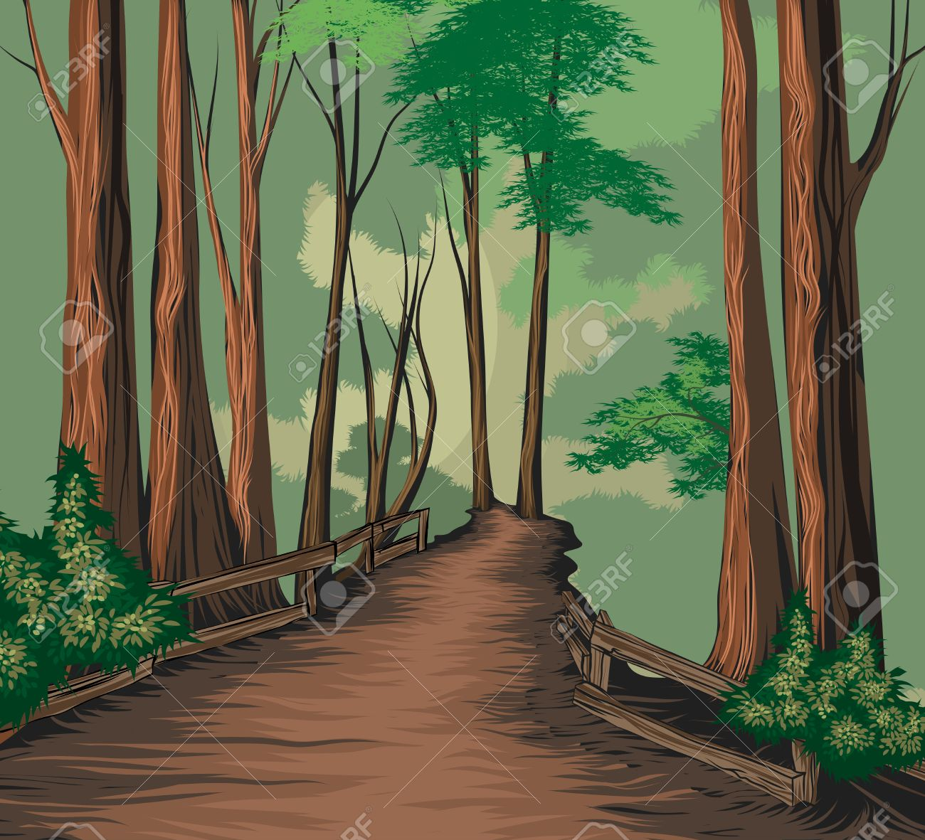 1300x1181 National Park Vector Hand Drawing Nature Landscape Background