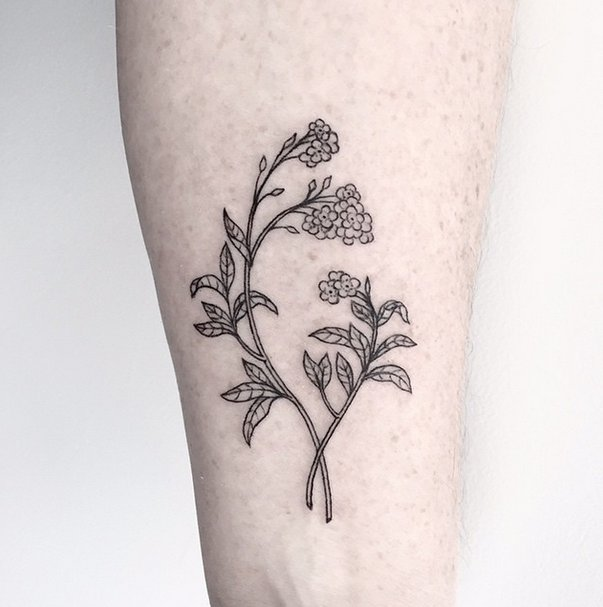 603x607 Forget Me Not Forearm Flower Tattoo Ideas Popsugar Beauty Photo 19