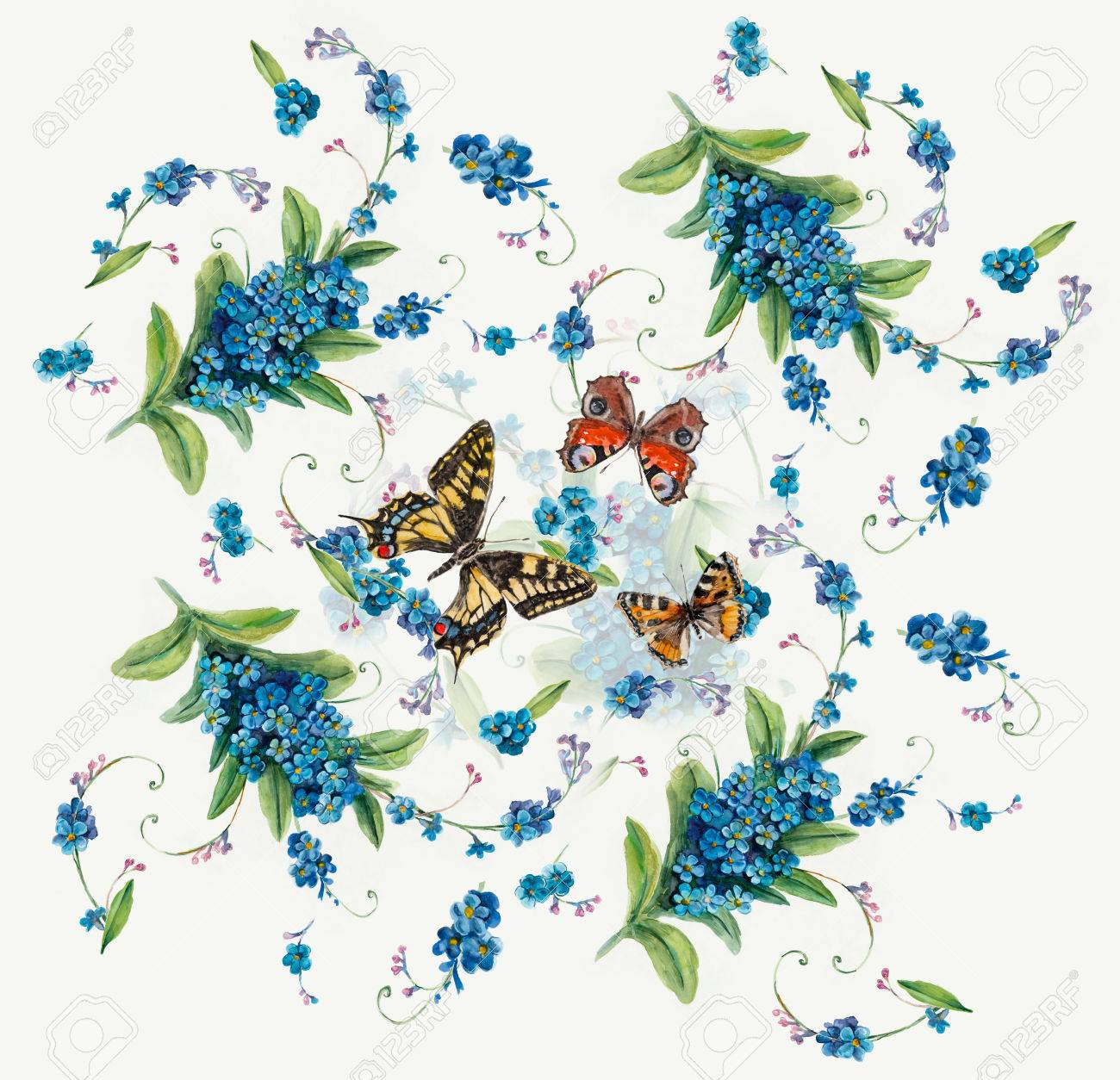 1300x1254 Forget Me Not. Flowers And Butterflies Background, Watercolor