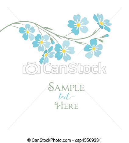423x470 Vector Blue Forget Me Not Flowers. Vector Illustration Blue