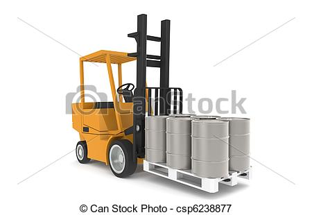 450x310 Forklift With Pallet, Front View. Part Of A Warehouse Stock