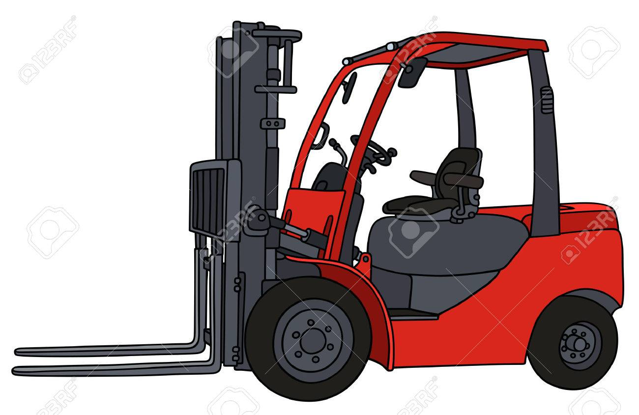 1300x845 Hand Drawing Of A Red Hydraulic Forklifts Royalty Free Cliparts