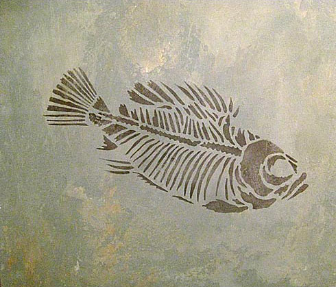 490x419 Prehistoric Fish Fossil Stencil. Awesome Fossil Stencils For Walls