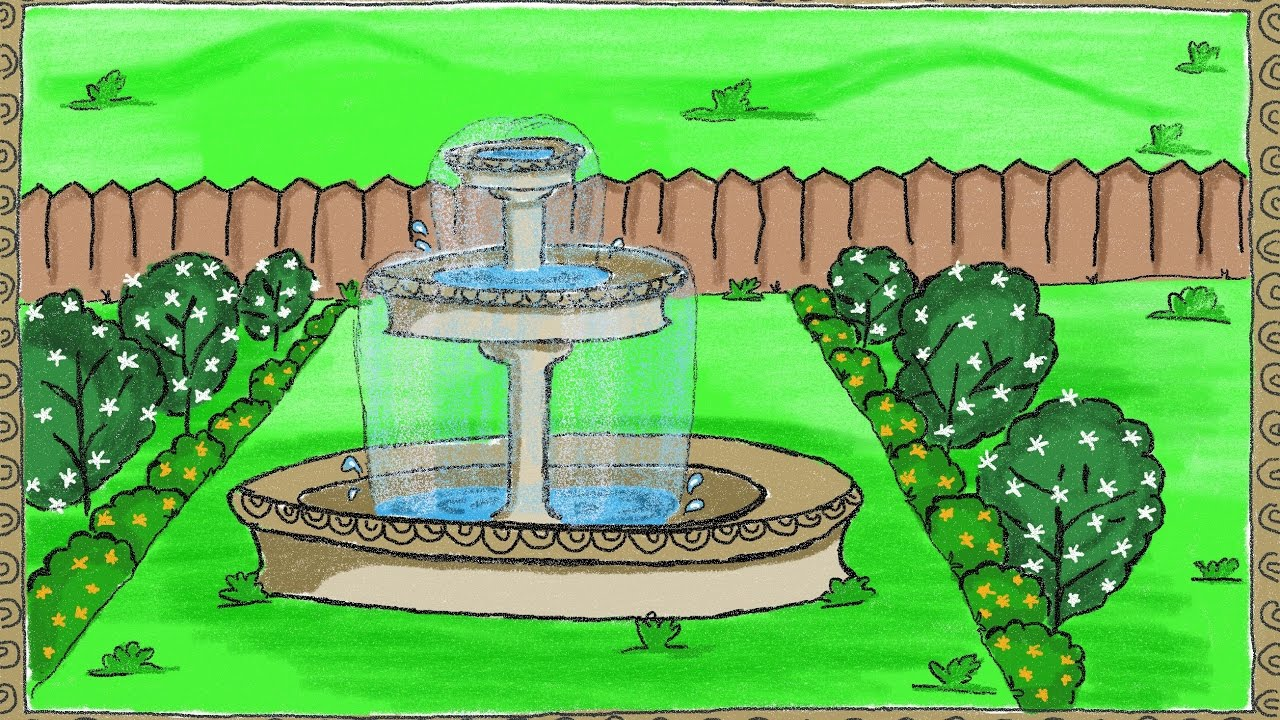 1280x720 Drawing A Simple Garden Fountain How To Draw A Fountain
