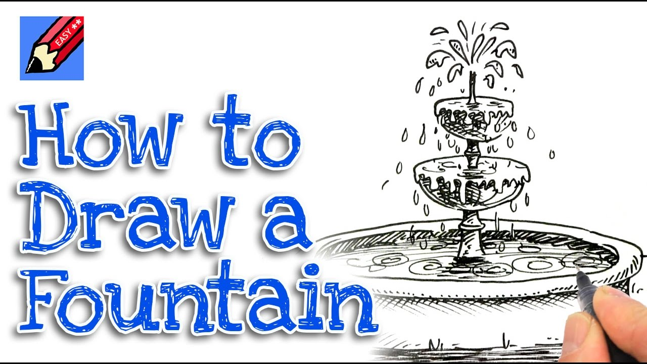 1280x720 How To Draw A Garden Fountain In 3d Real Easy For Kids