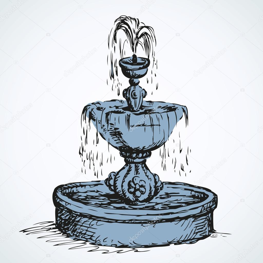 1024x1024 Old Fountain. Vector Drawing Stock Vector Marinka