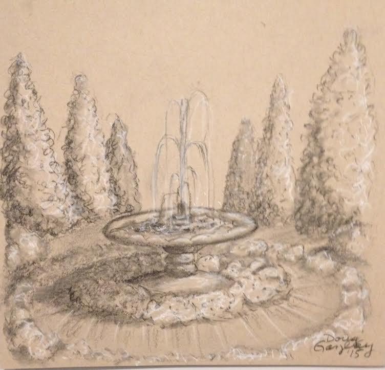 752x723 Water Fountain' Charcoal Pencil Drawing. 9x8.5 Tan Drawing Paper