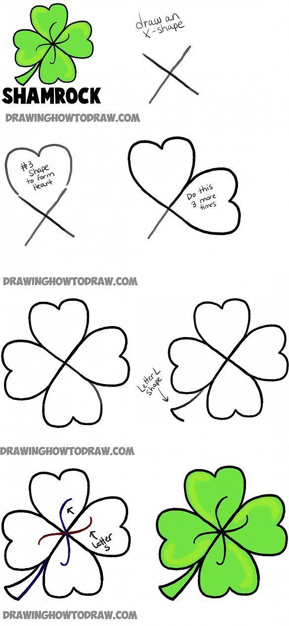 584x1265 How To Draw A Four Leaf Clover Or Shamrocks For Saint Patricks Day