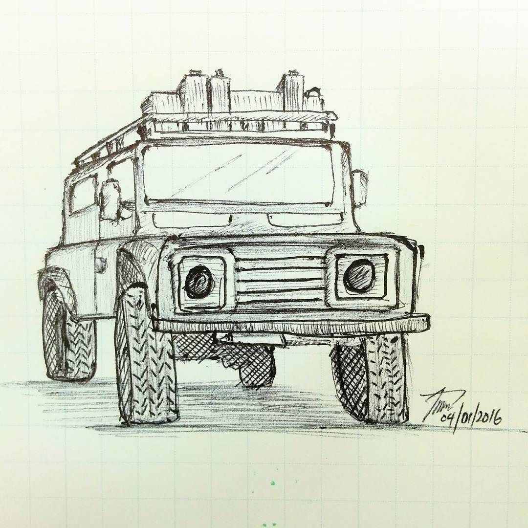 1080x1080 Quick Sketching By Dry Ball Pen Land Rover Defender 110 4th
