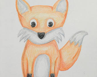 340x270 Fox Drawing Etsy