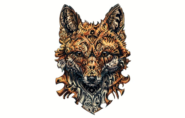 596x380 Wallpaper Fox, Drawing, Complicated, Design Images For Desktop