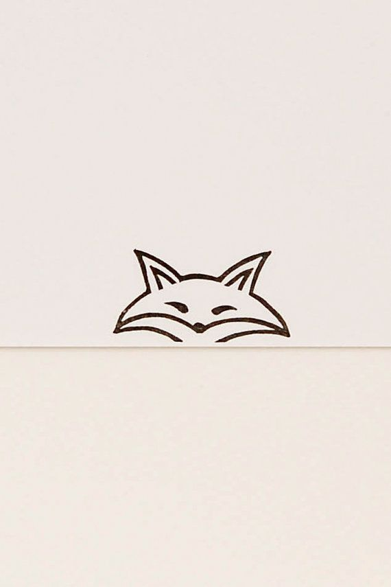 570x855 Funny Fox Stamp, Pursy Eyes Fox, Peek A Boo Stamp, Hand Carved