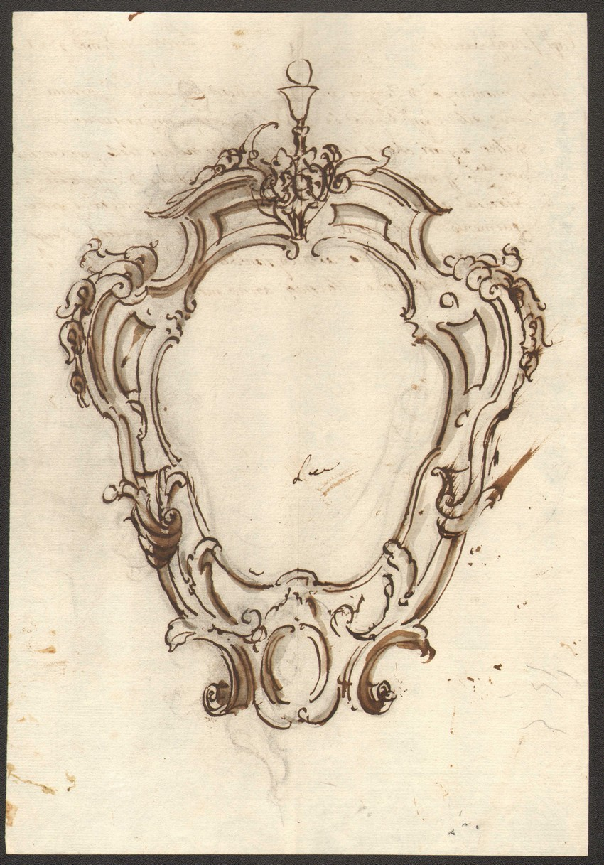 850x1217 Old Frame Drawing Anonimo Second Half 18th Century Decorative