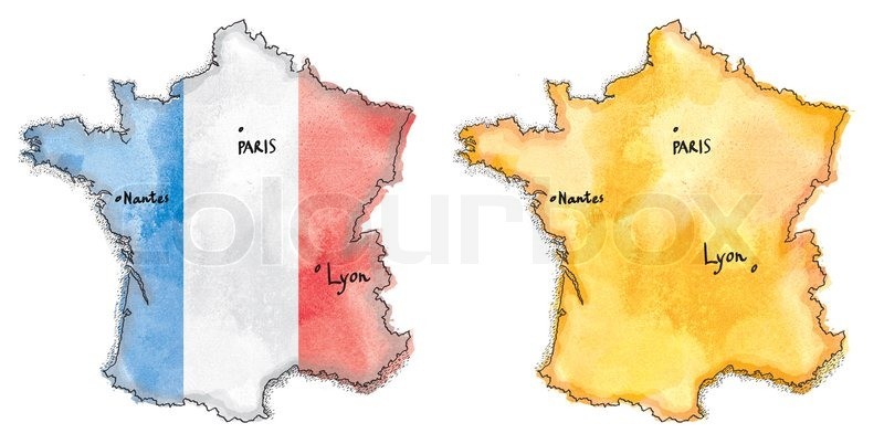800x402 France Map On France Flag Drawing. Vintage Map Watercolor Painted