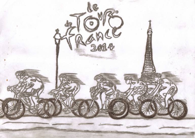 770x544 Saatchi Art Le Tour De France 2014 Drawing By Sylvia Howarth