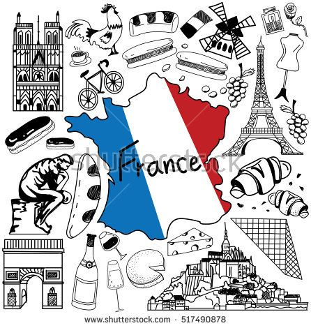 446x470 Travel To France Doodle Drawing Icon. Doodle With Culture, Costume