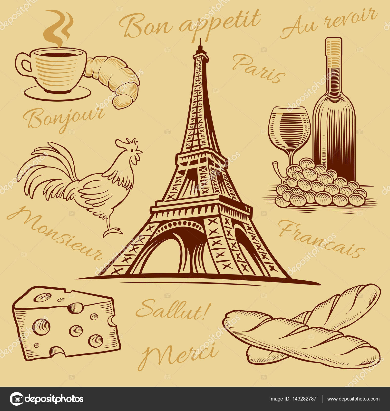 1600x1686 Typical France Food, Croissant, Wine, Cheese, Eiffel Tower Hand