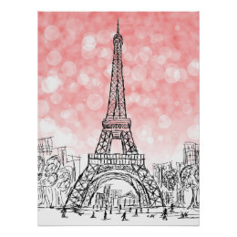 260x260 Eiffel Tower Drawing Posters Zazzle